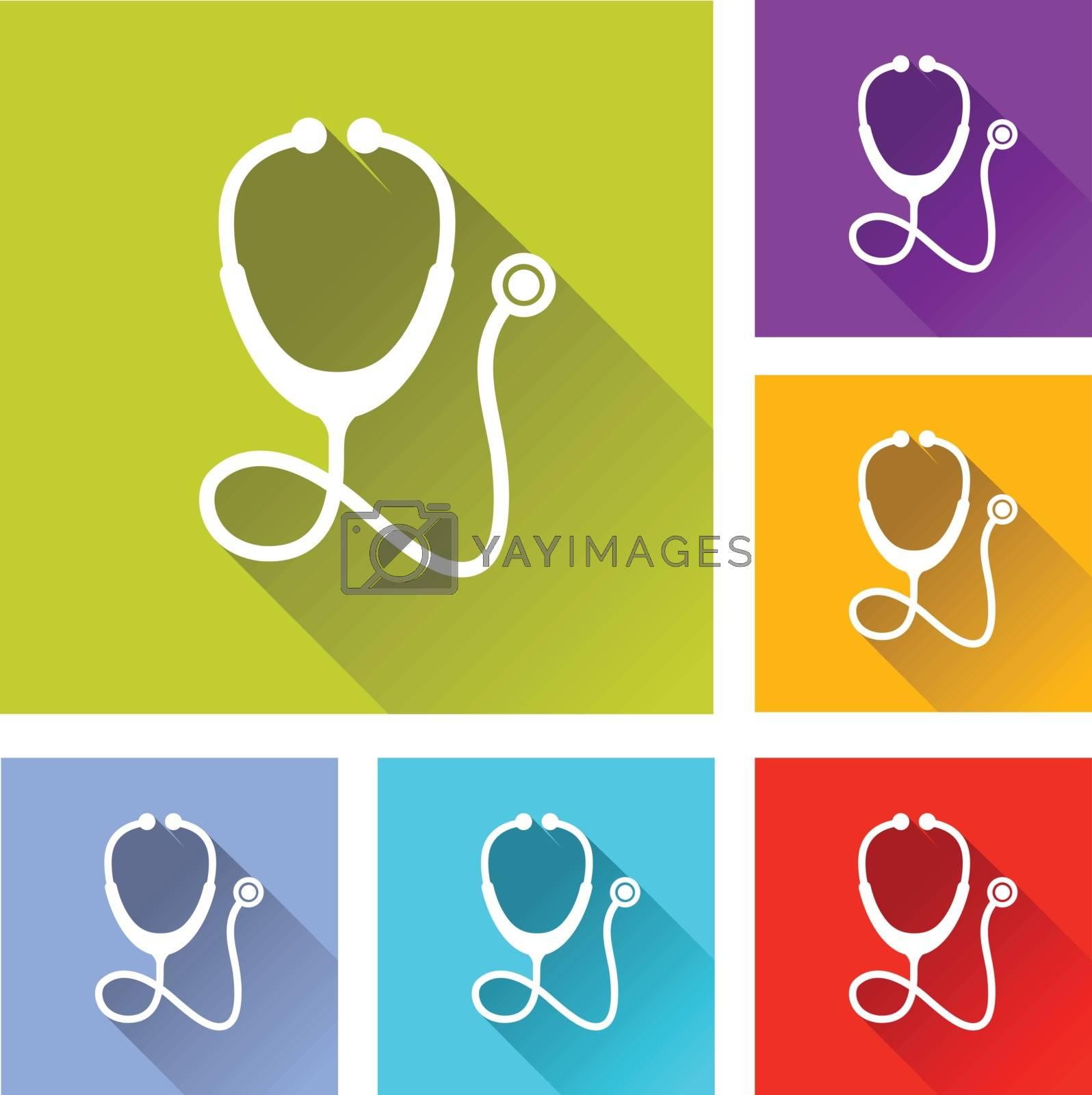 illustration of colorful square stethoscope icons set