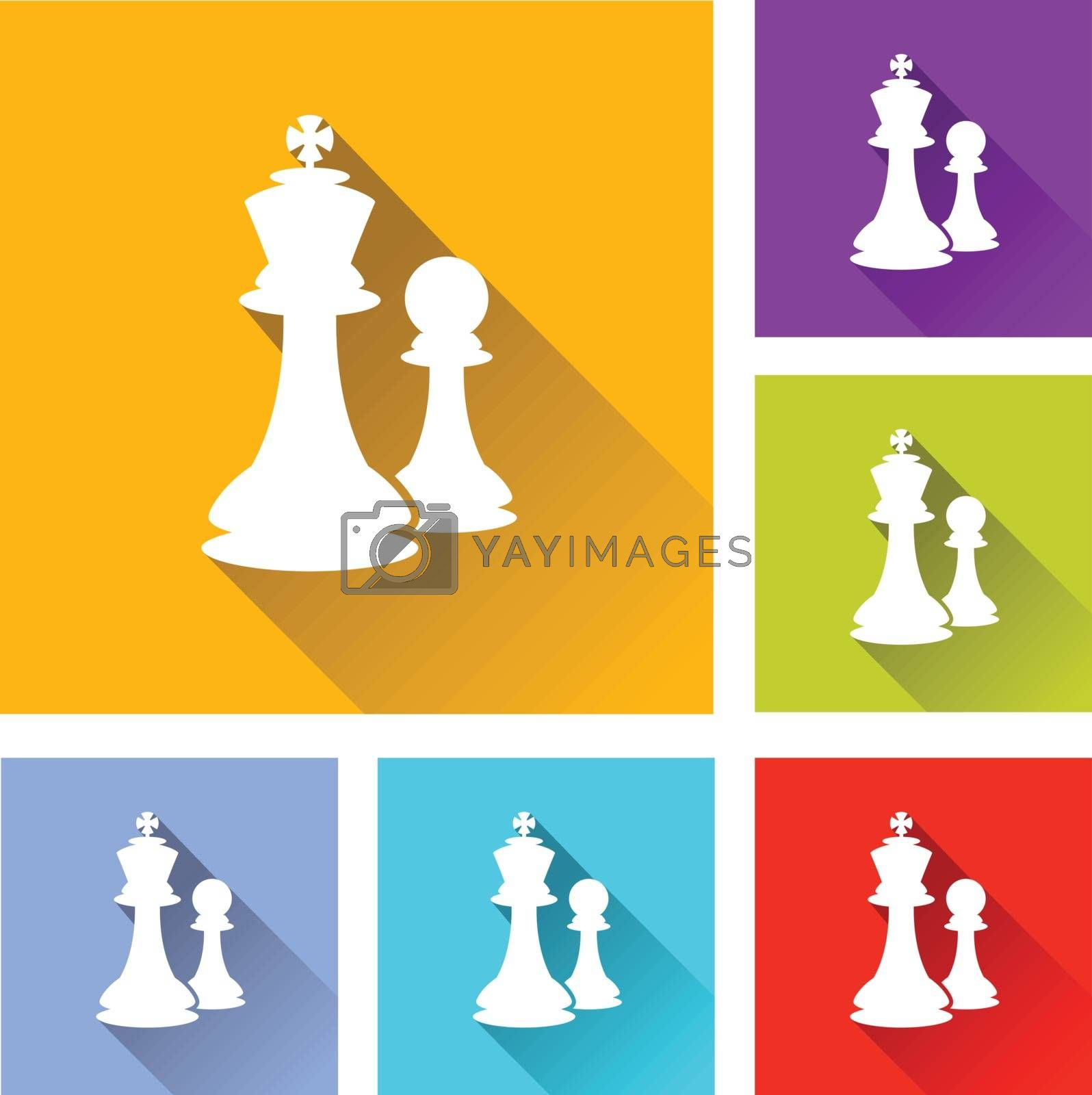 illustration of colorful square chess icons set