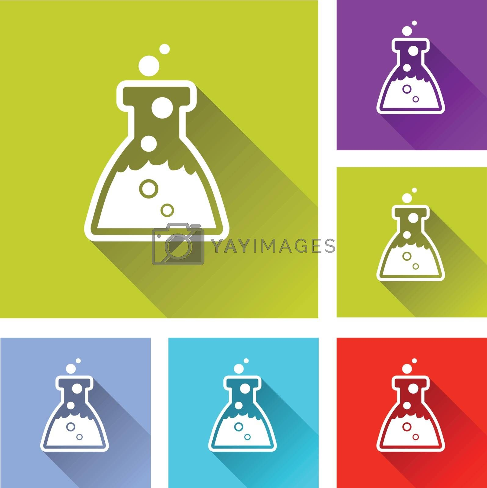 illustration of colorful square chemistry icons set