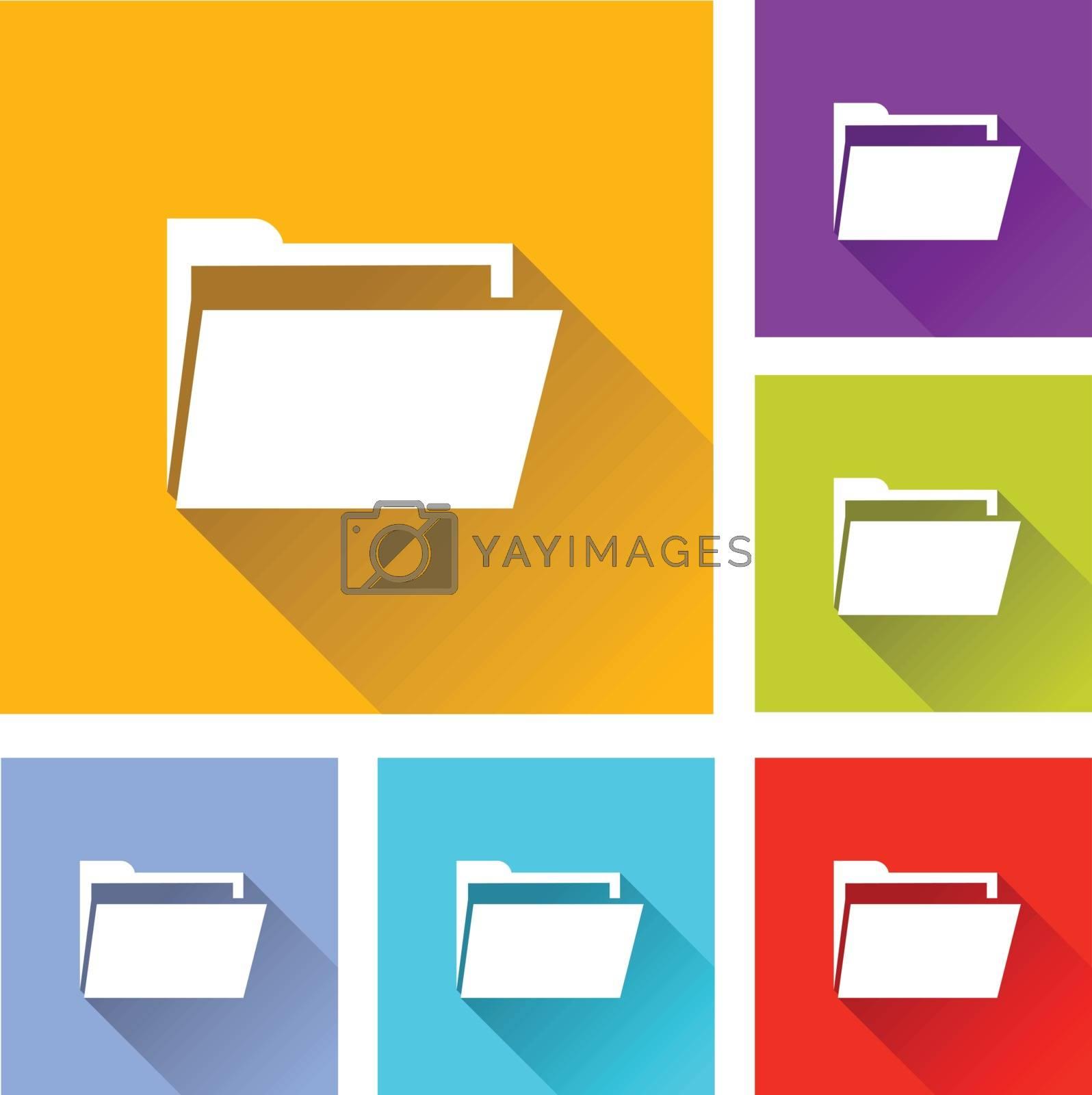 illustration of colorful square folder icons set