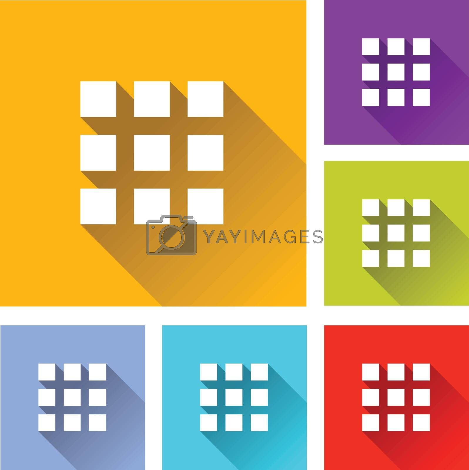 illustration of colorful square applications icons set