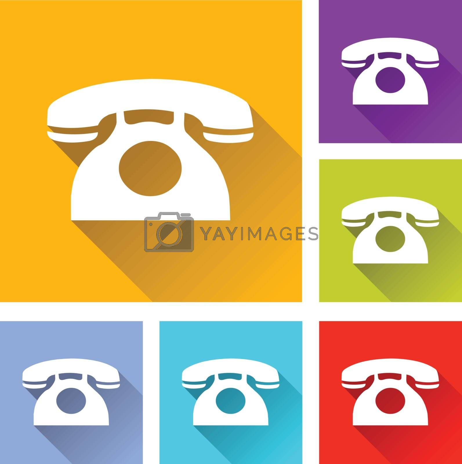 illustration of colorful square phone icons set