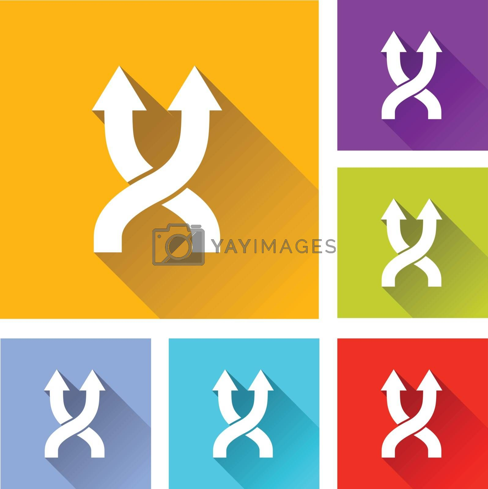 illustration of colorful square shuffle icons set