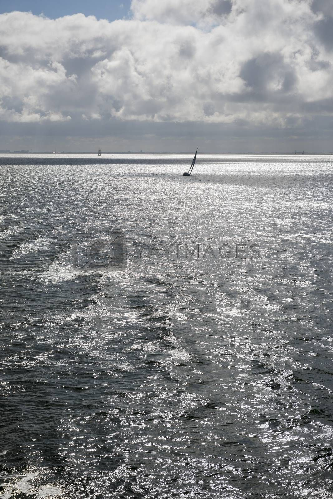 Sun over the Wadden Sea with sailing boat