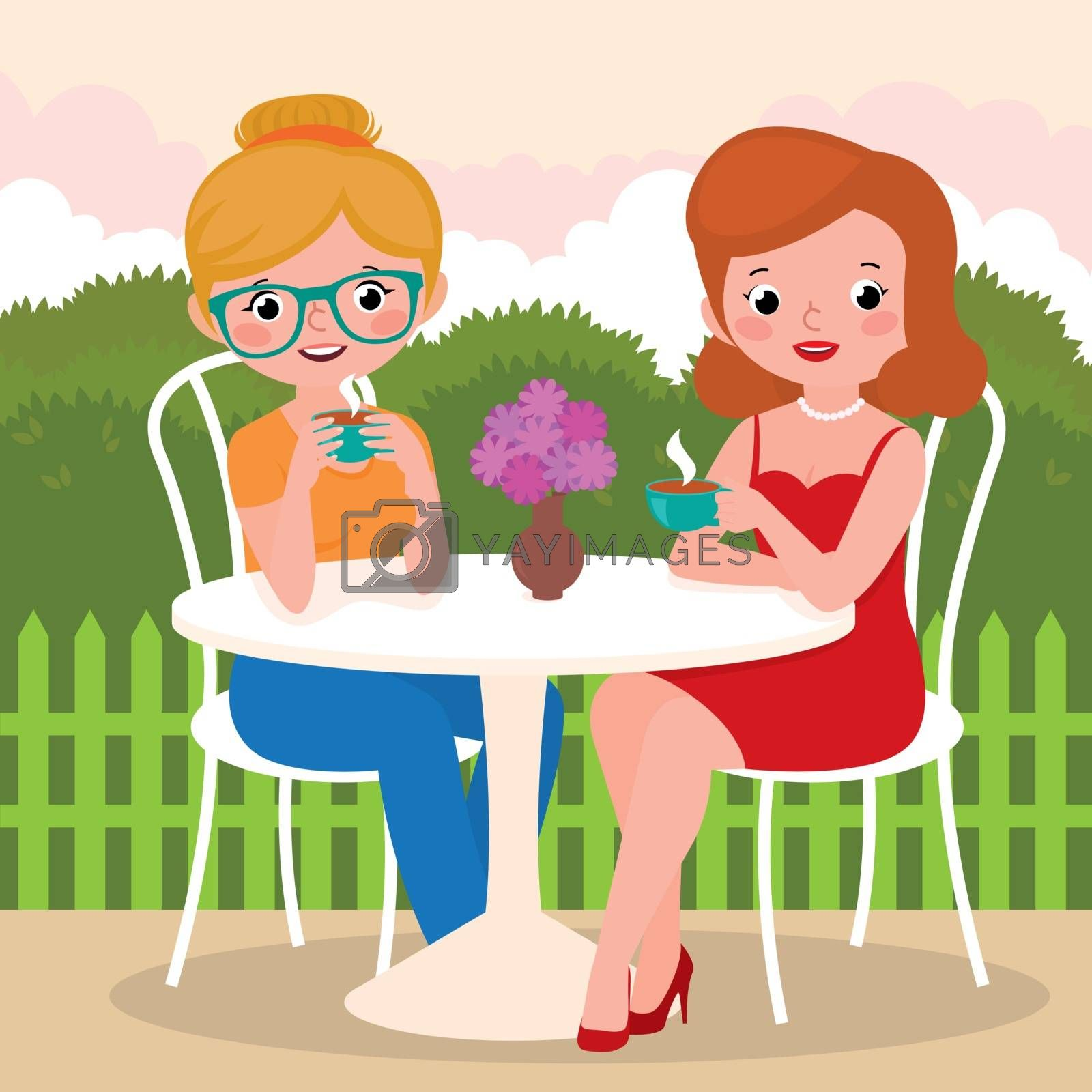 Stock Vector cartoon illustration of a tea party girl friends outdoors