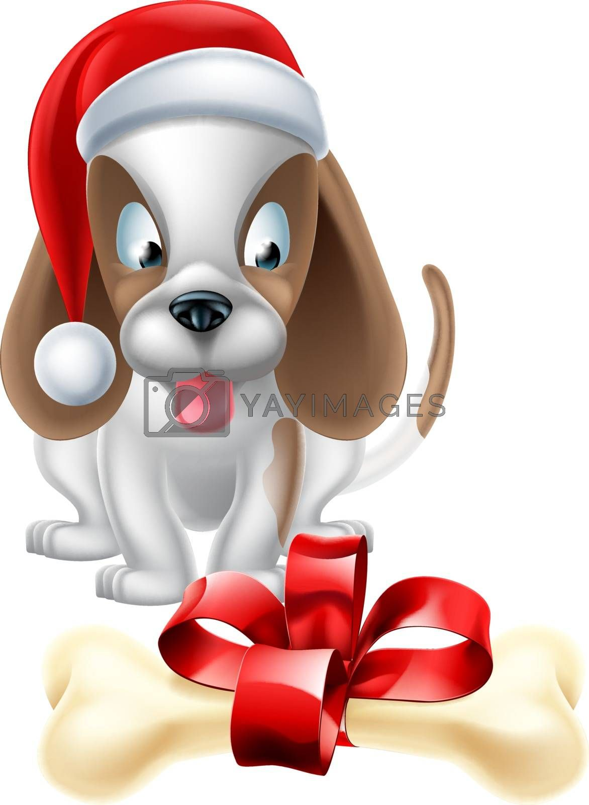 An illustration of a cartoon Puppy Dog wearing a Christmas Santa hat and looking longingly at a bone with a ribbon bow