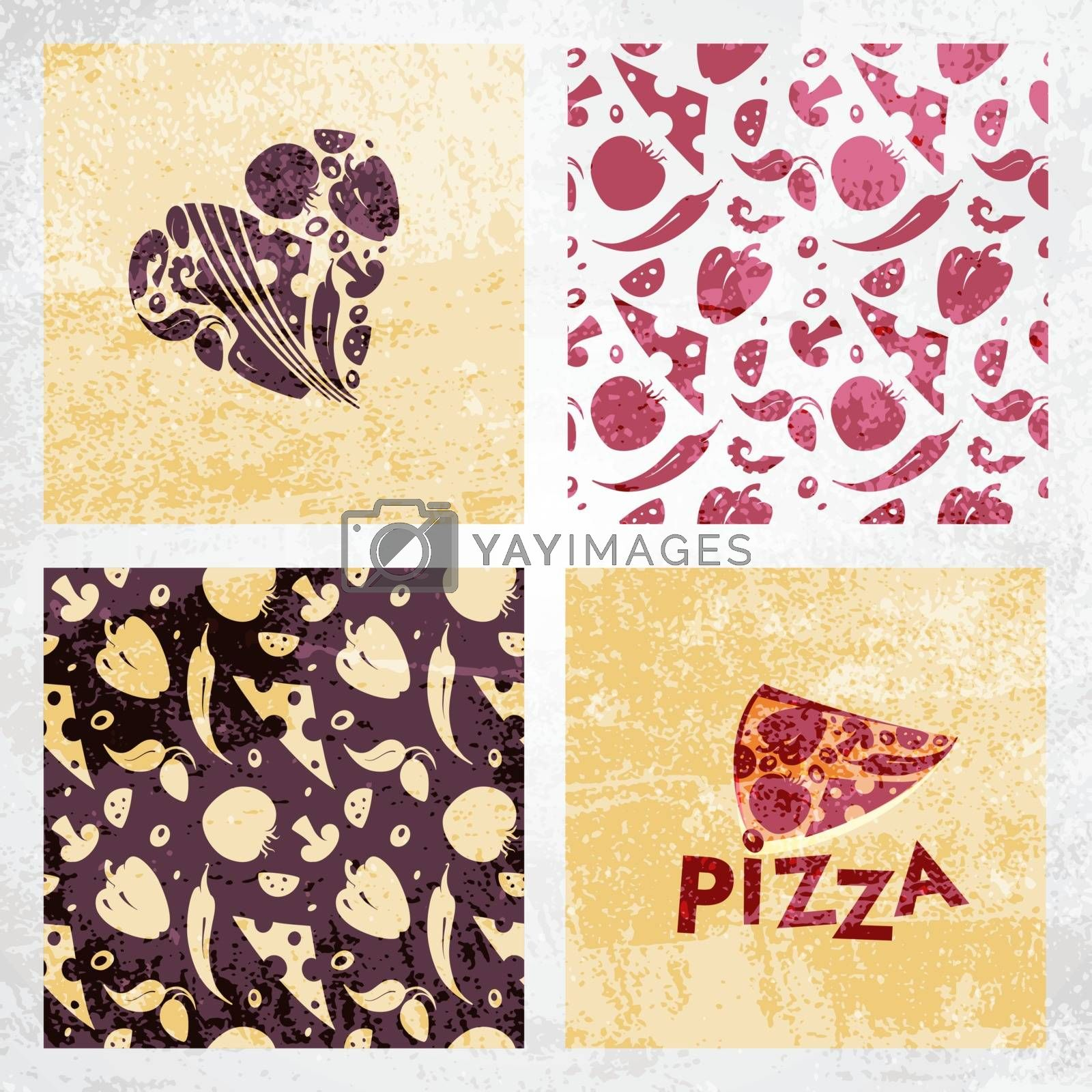 Illustration with a pizza background.