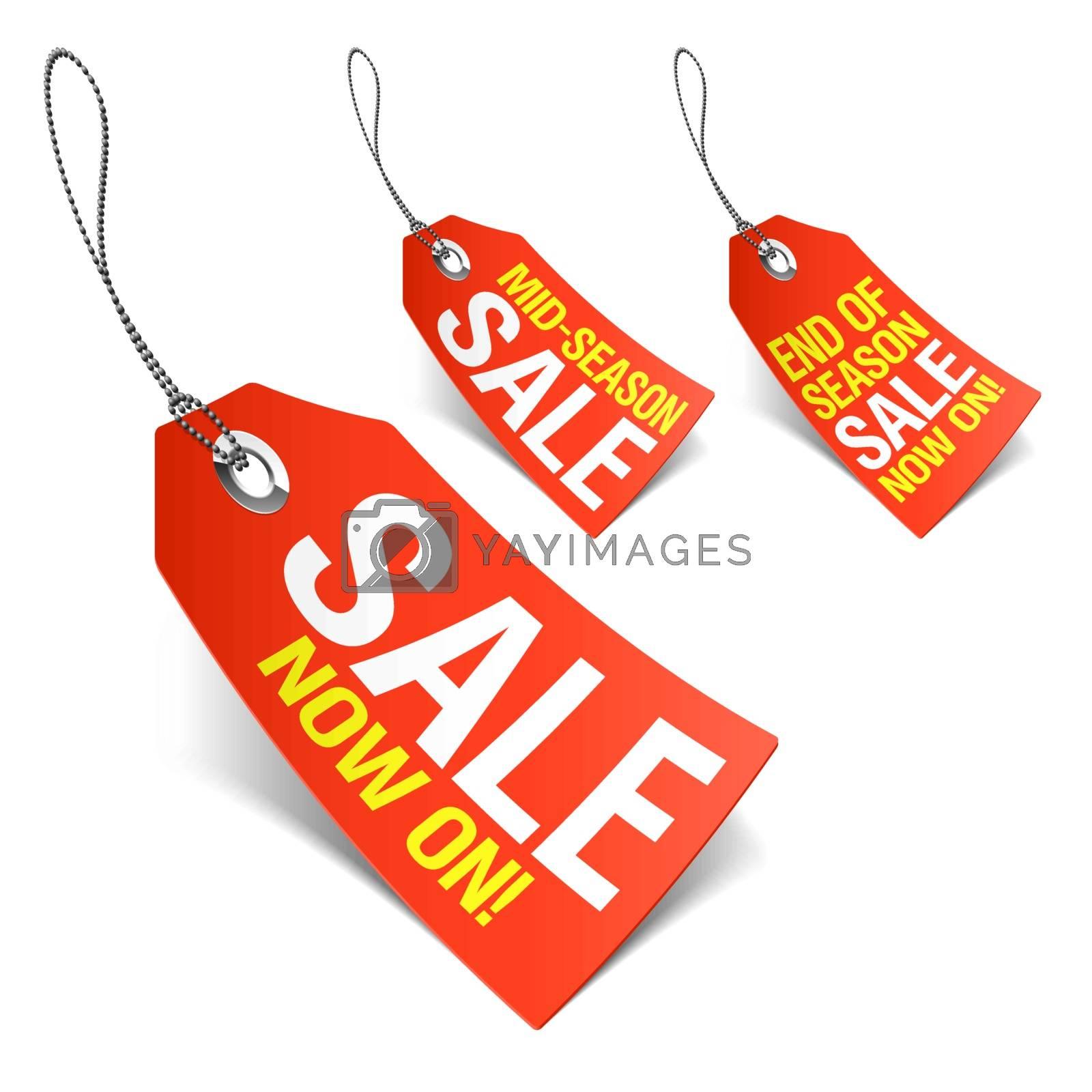 Set of big sale labels in this illustration.