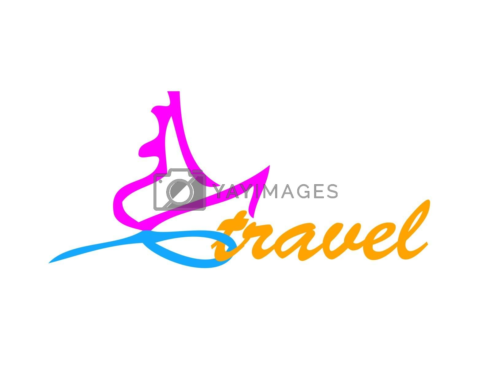 color logo travel with ship and wave