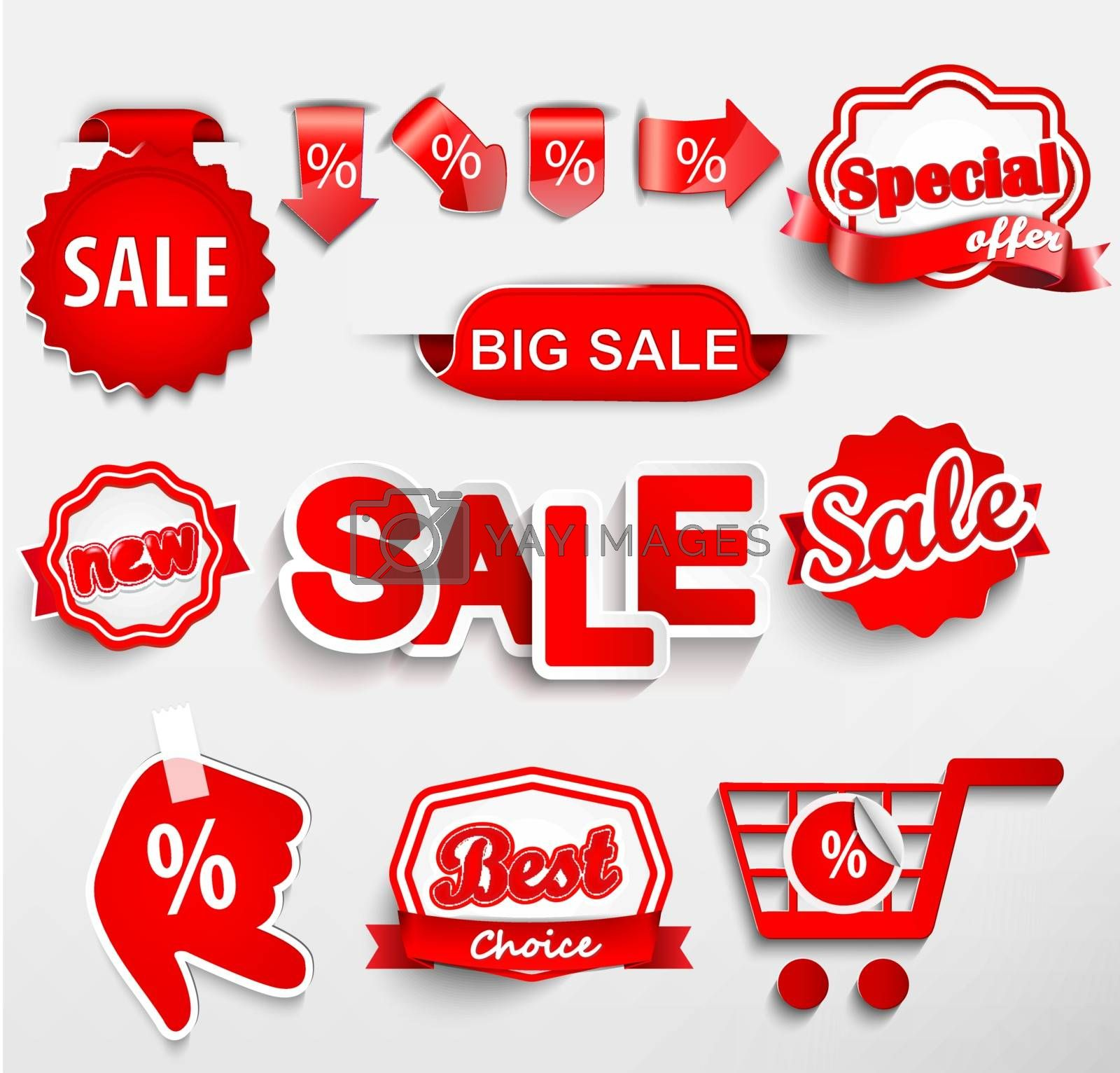 Set of colorful sale labels in this illustration.