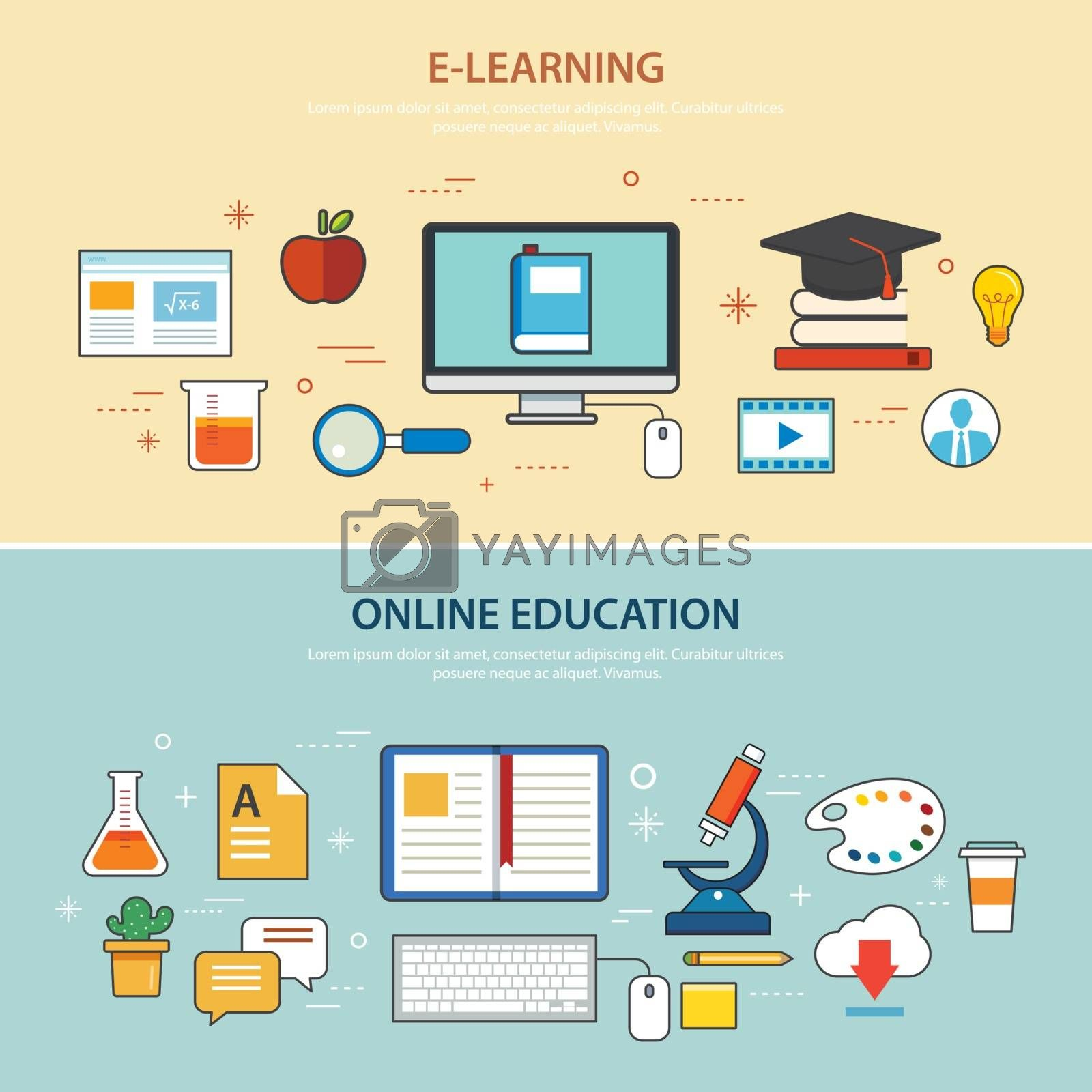 Online Education And E Learning Banner Flat Design Template Royalty Free Stock Image Yayimages Royalty Free Stock Photos And Vectors