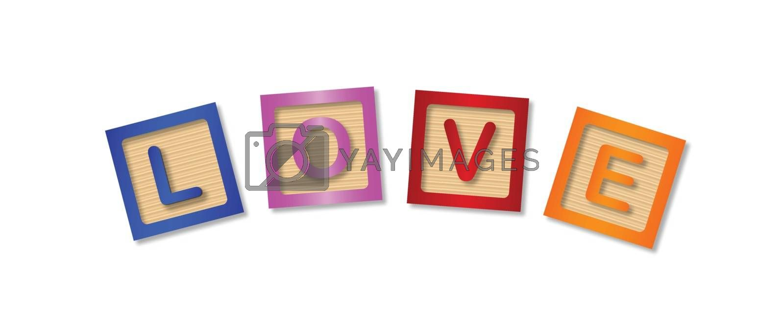 The word love made up from wooden blocks over a white background