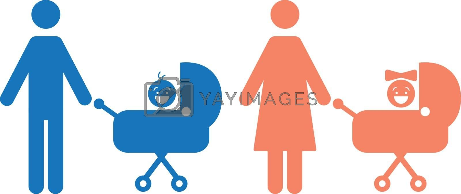 Boy and girl sitting in the carriage vector icons