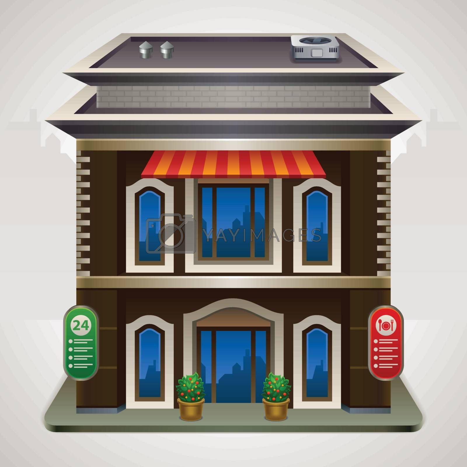 Vector illustration with a building.