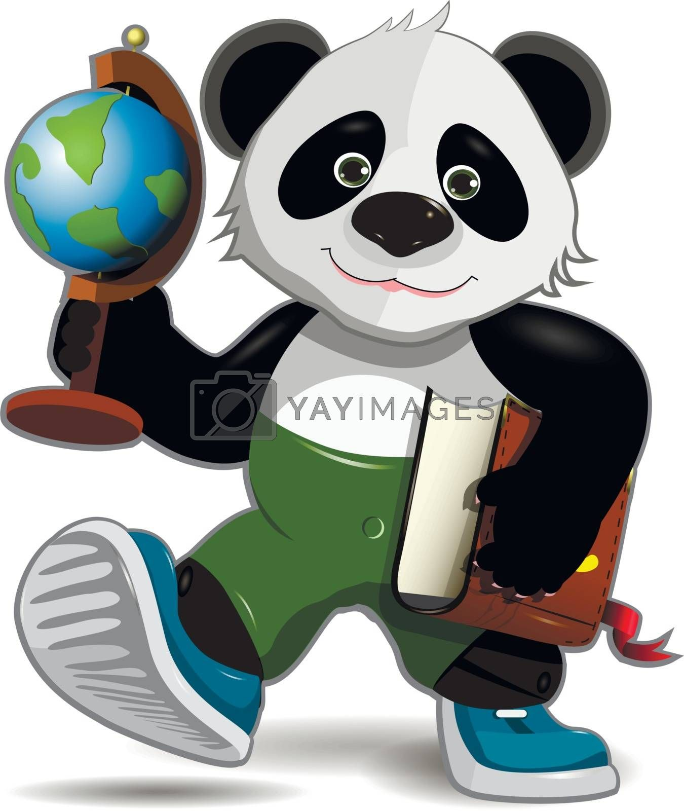Illustration of a happy panda with a globe and a book