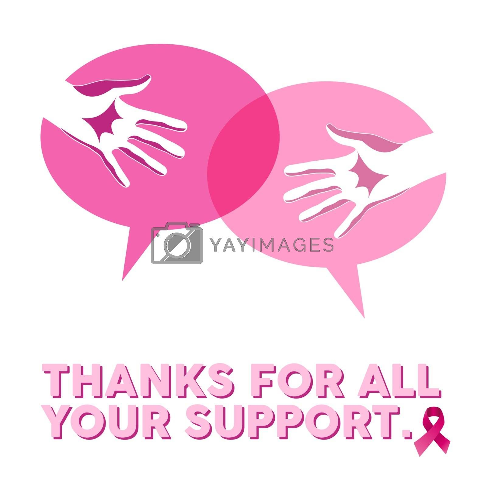 Breast cancer awareness media campaign concept illustration. Help hands in social bubbles, thanks for your support text and pink ribbon sign of cause. EPS10 vector file.