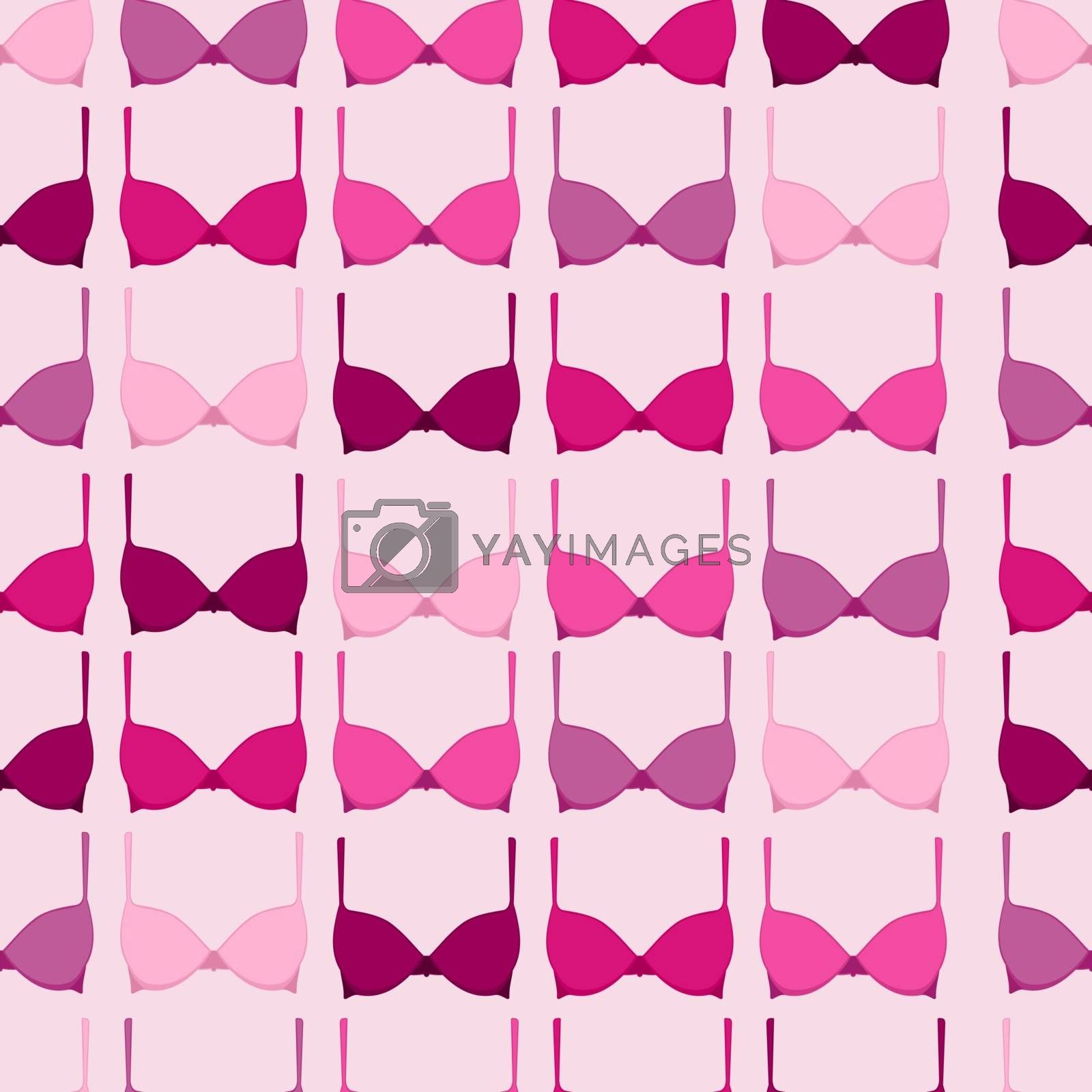 Seamless pattern with pink bra elements in support of breast cancer awareness campaign. EPS10 vector file.