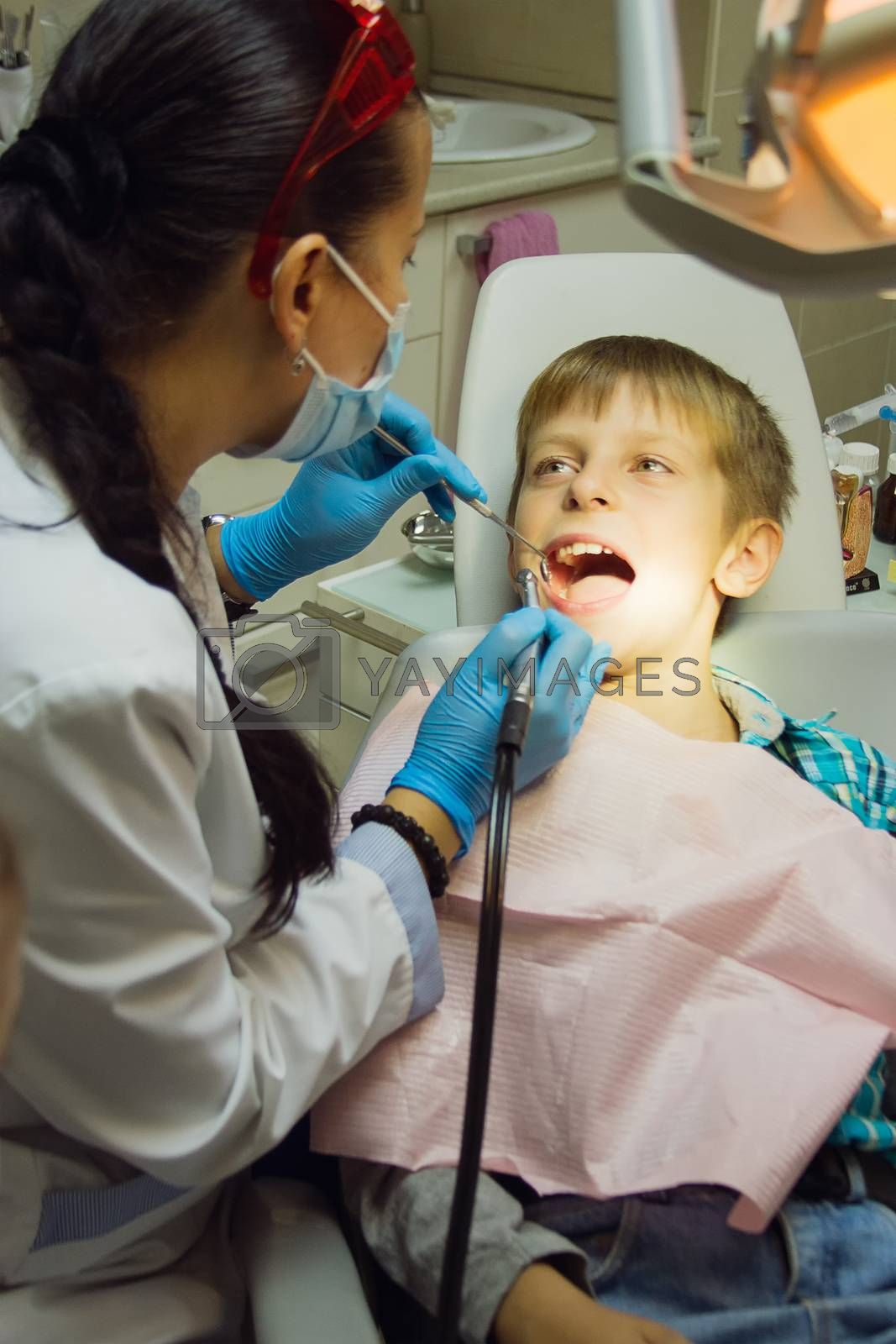Healthy teeth child patient at dentist office dental caries prevention