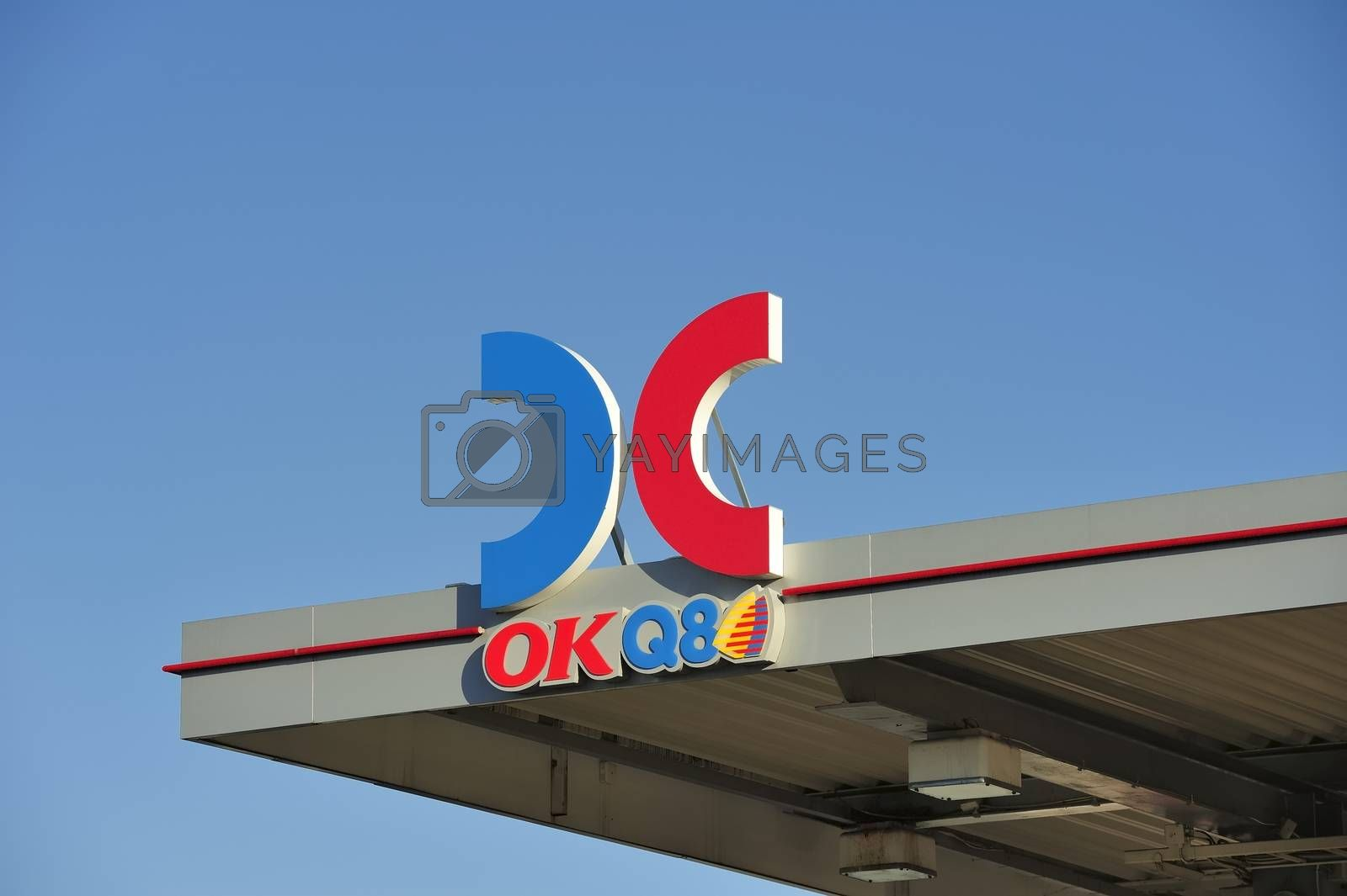 STOCKHOLM - MAY 1 2013: A OKQ8 sign on the roof of a gas station on may 1th 2013 in Stockholm, Sweden. OK-Q8 AB is a Swedish company which since 1999 operates Sweden's largest chain of gas station