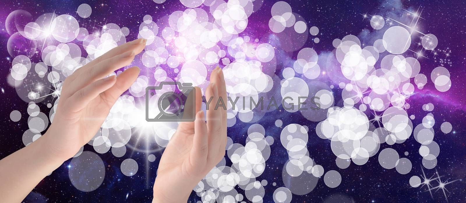 Healing Hands on a sparkling coloured background