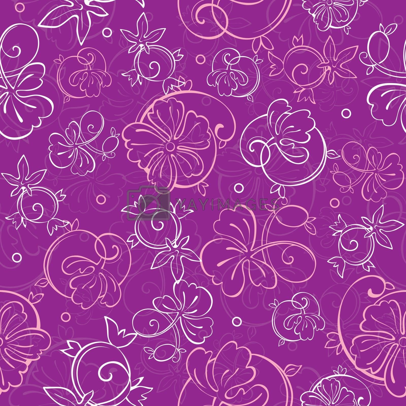 Vector Purple Nature Swirls Seamless Pattern graphic design