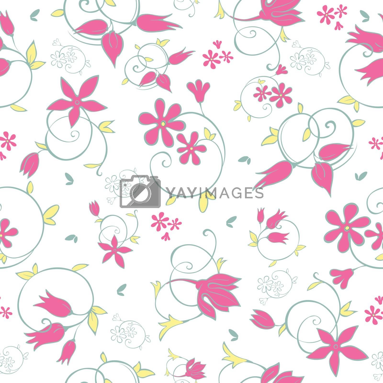 Vector Spring Flower Swirls Seamless Pattern graphic design