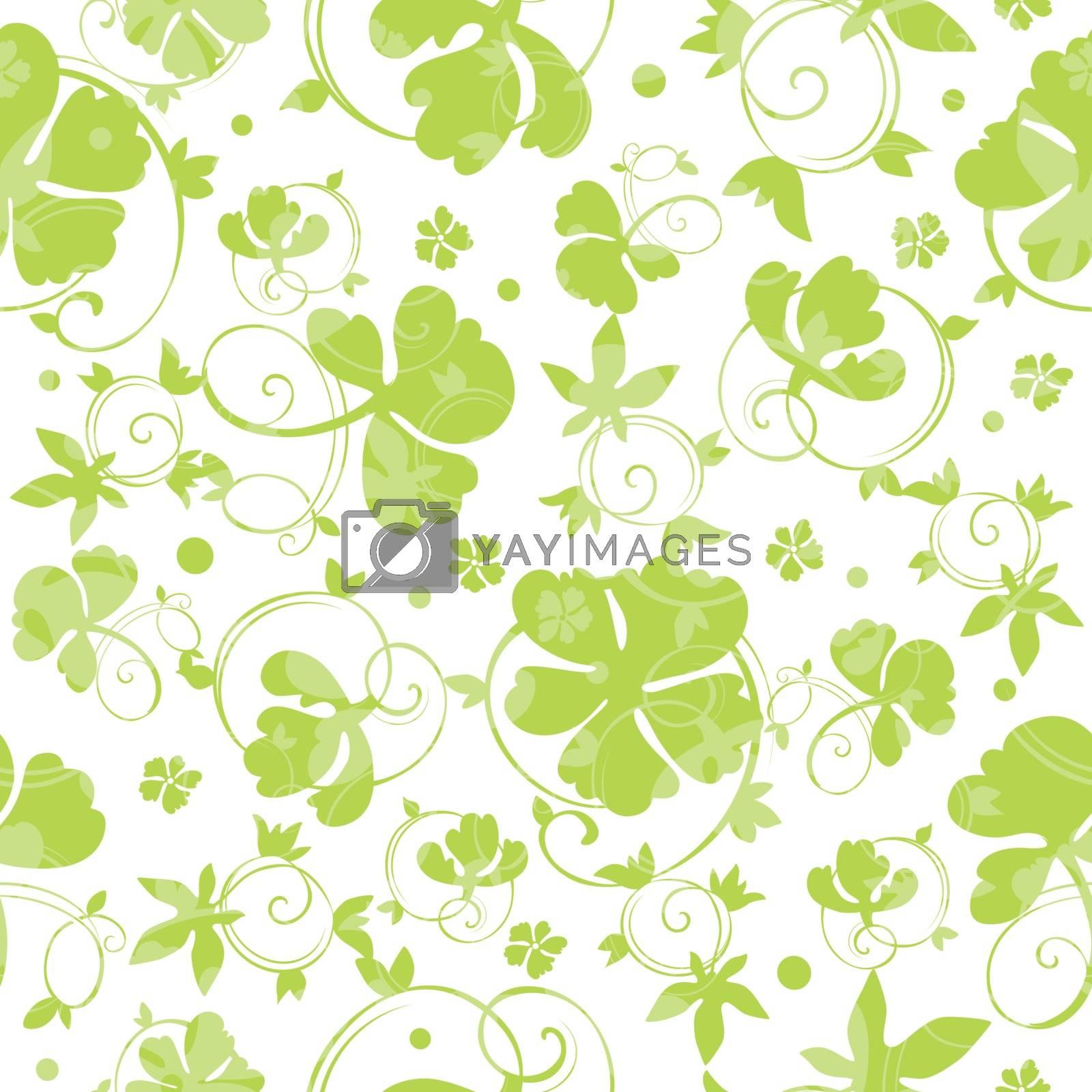 Vector Green Swirly Clover Seamless Pattern graphic design