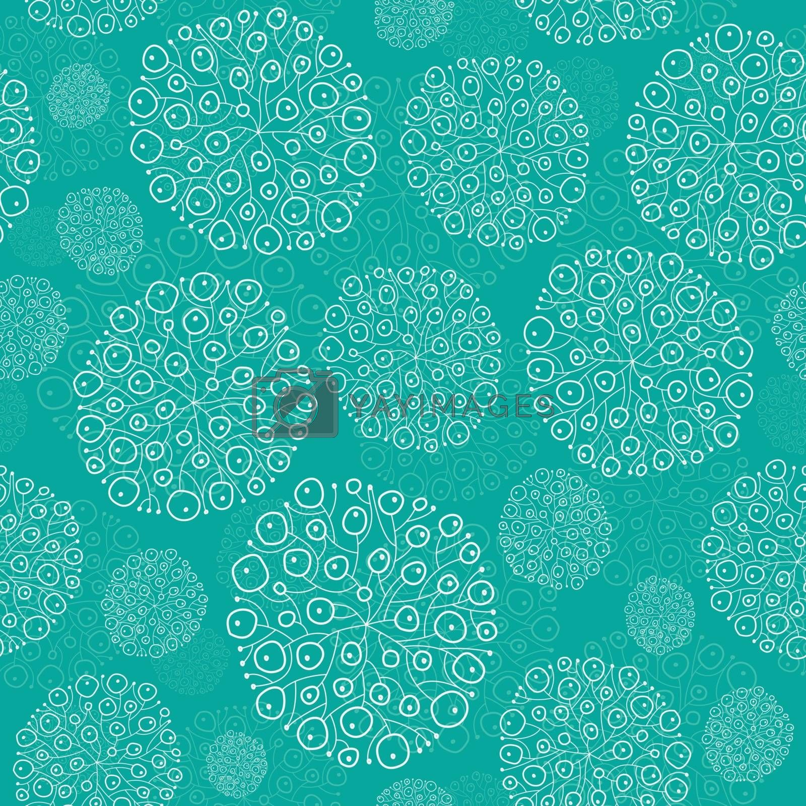 Vector Abstract Green Seaweed Bulbs Texture Seamless Pattern graphic design