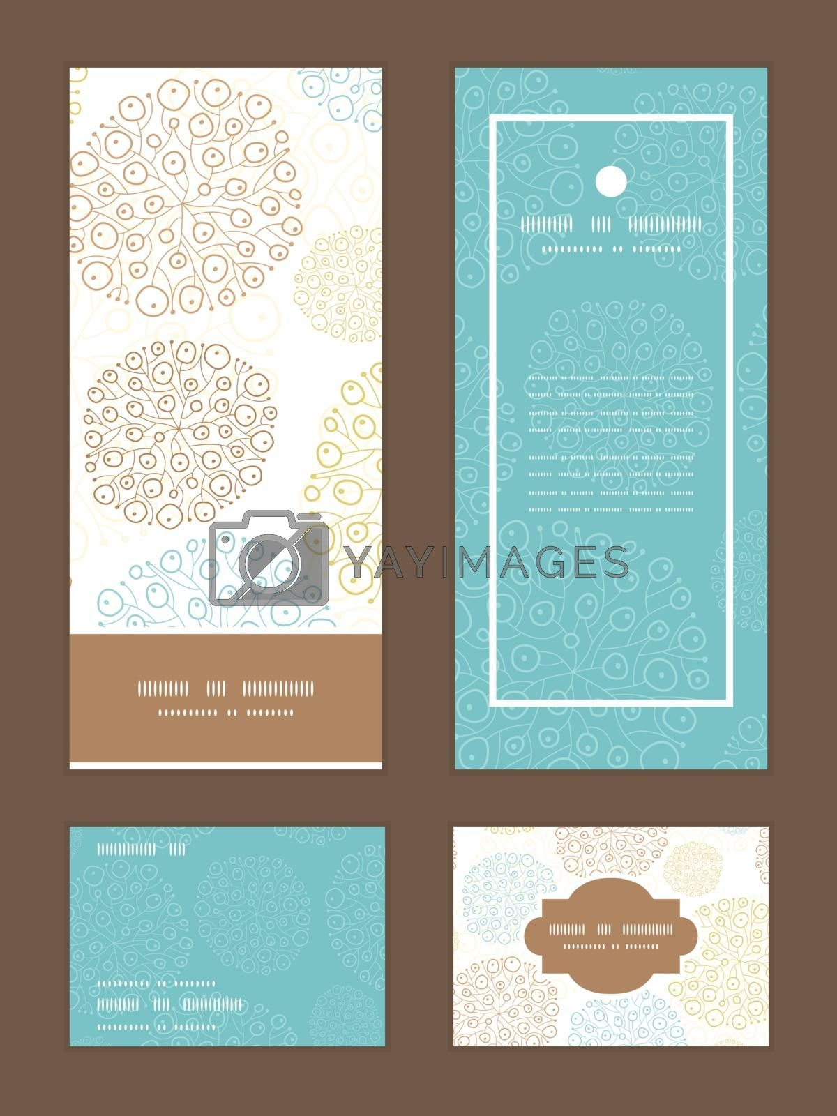 Vector blue brown abstract seaweed texture vertical frame pattern invitation greeting, RSVP and thank you cards set graphic design