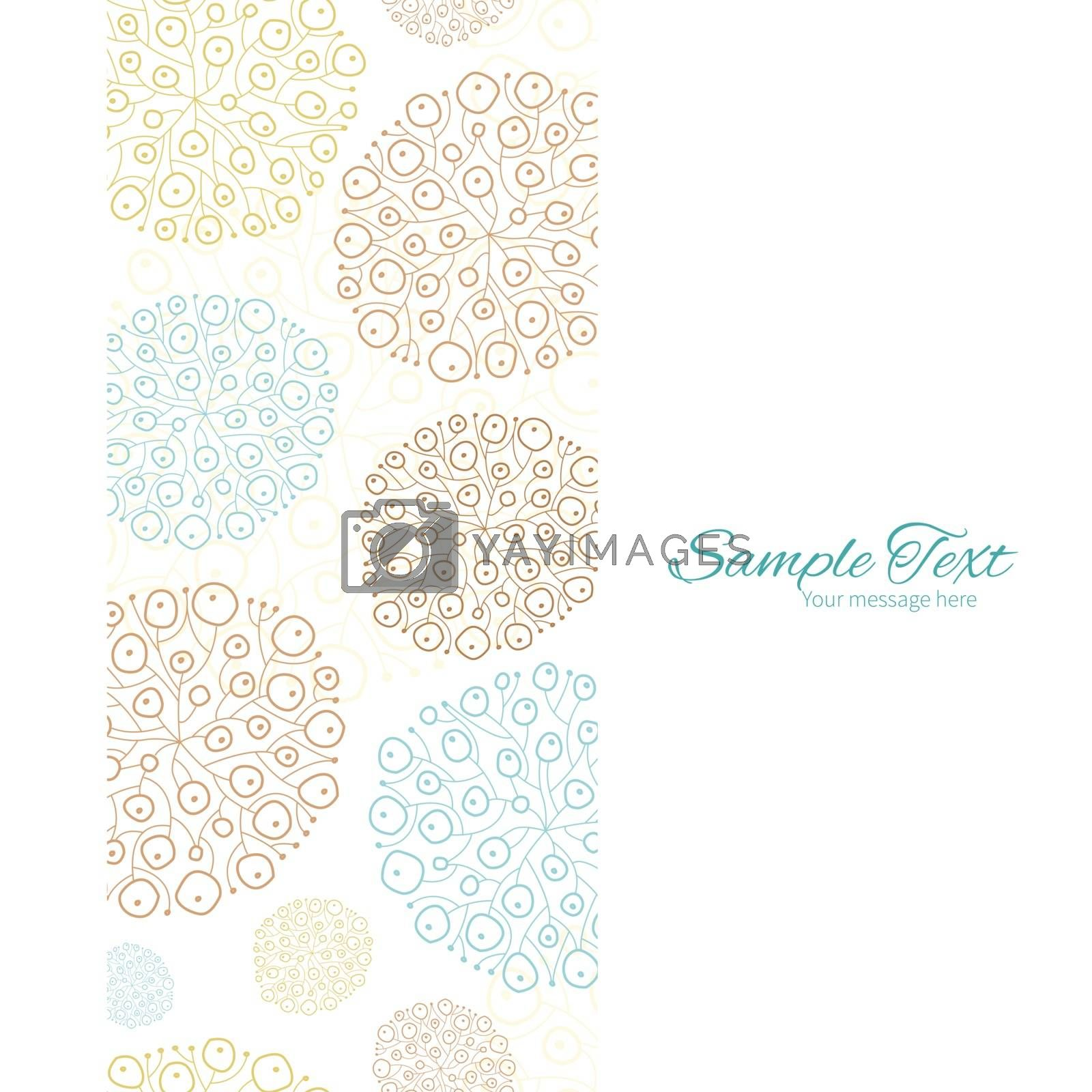 Vector blue brown abstract seaweed texture vertical frame seamless pattern background graphic design