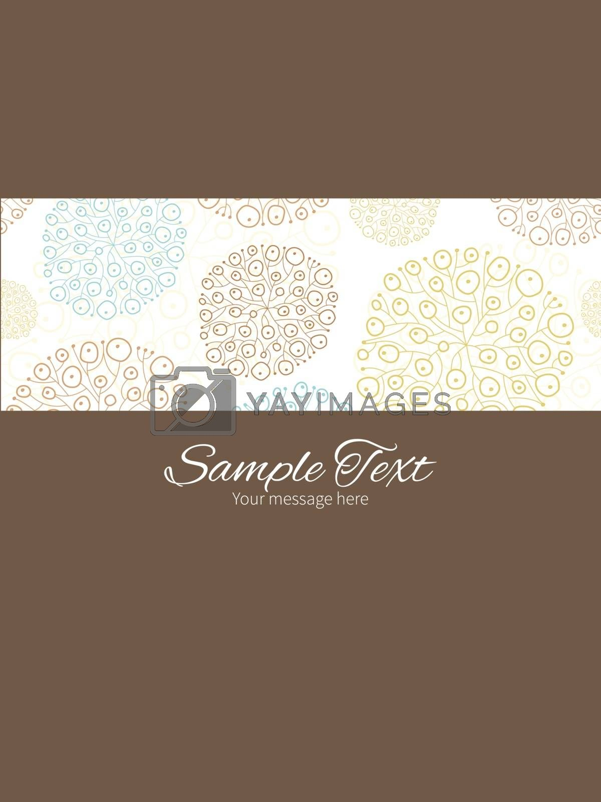 Vector blue brown abstract seaweed texture stripe frame vertical card invitation template graphic design