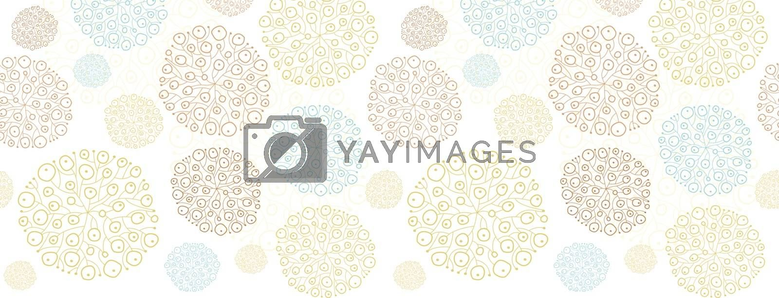 Vector blue brown abstract seaweed texture horizontal border seamless pattern background graphic design