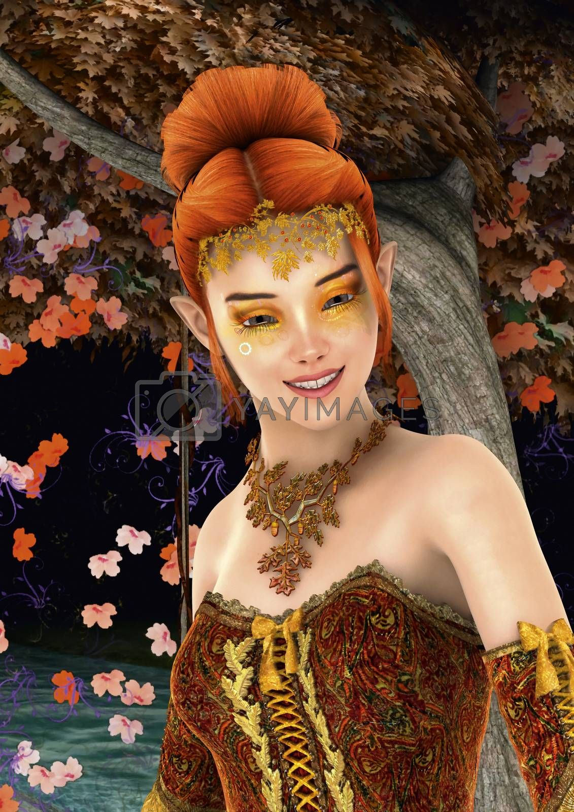 3D digital render of a beautiful princess of autumn ona fantasy garden background