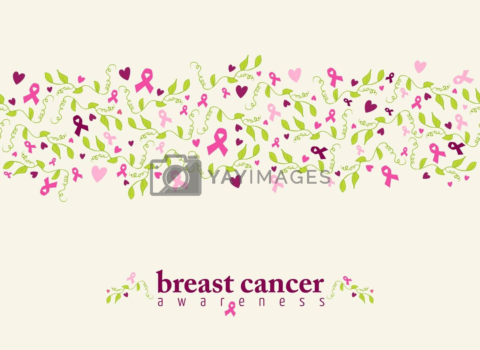 Breast cancer awareness seamless pattern with pink ribbon, heart shape and spring nature elements. EPS10 vector file.
