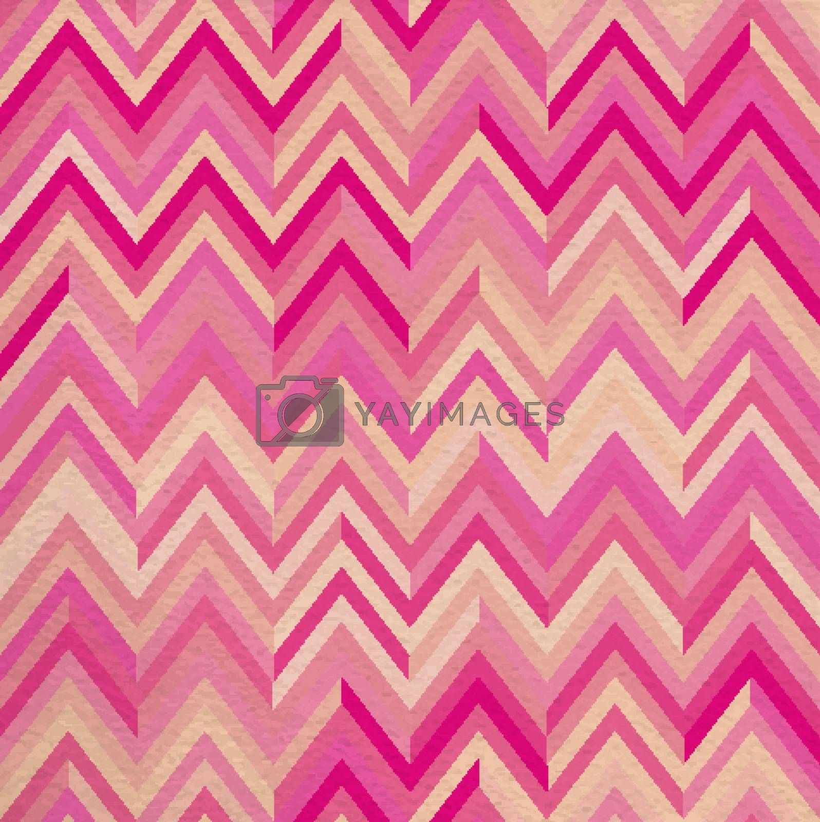 Geometric abstract pink vintage retro seamless pattern zigzag background. Ideal for fabric, wrapping paper, or print. EPS10 vector file.
