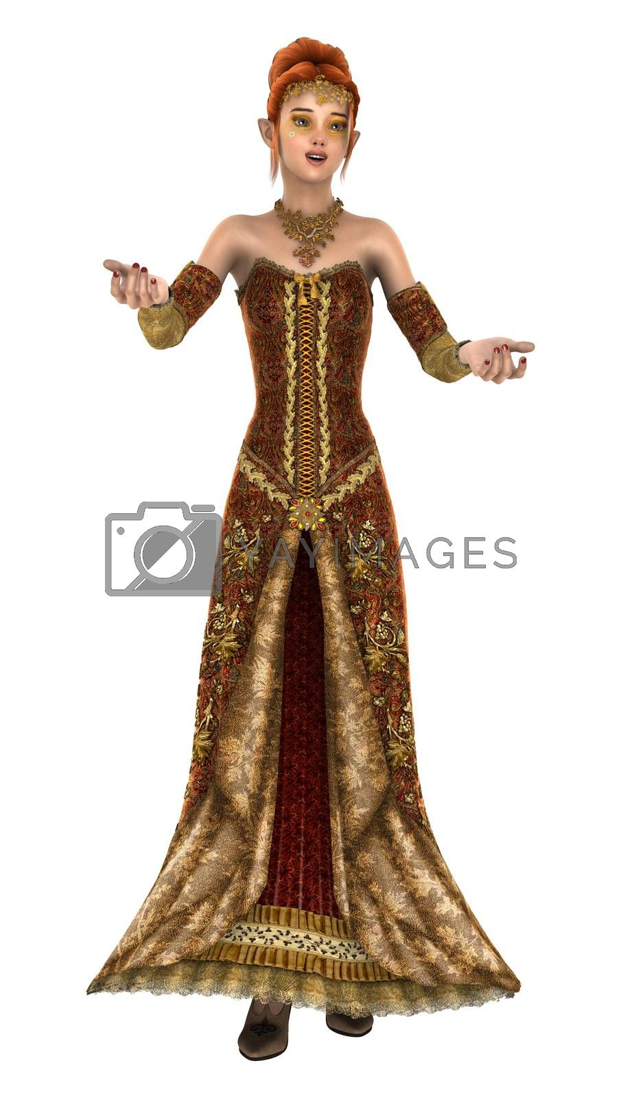 3D digital render of a beautiful princess of autumn isolated on white background