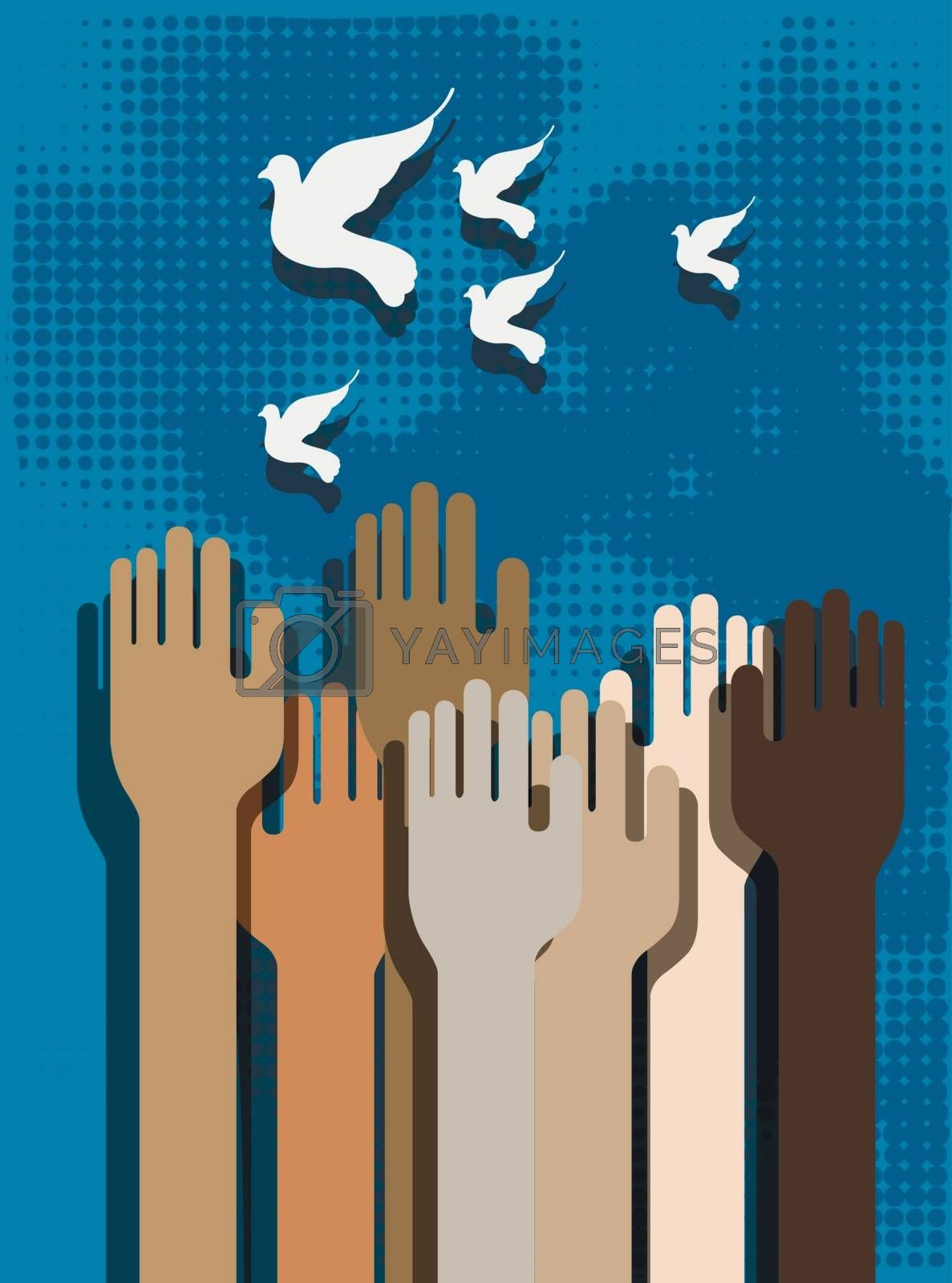 Hands of people on a blue background and doves
