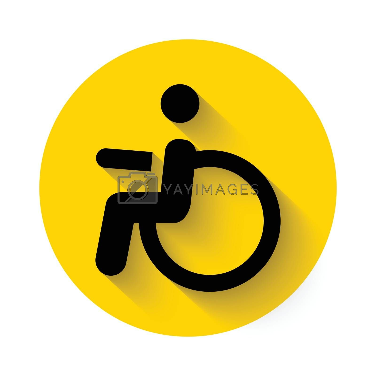 Disabled icon or sign isolated on yellow background