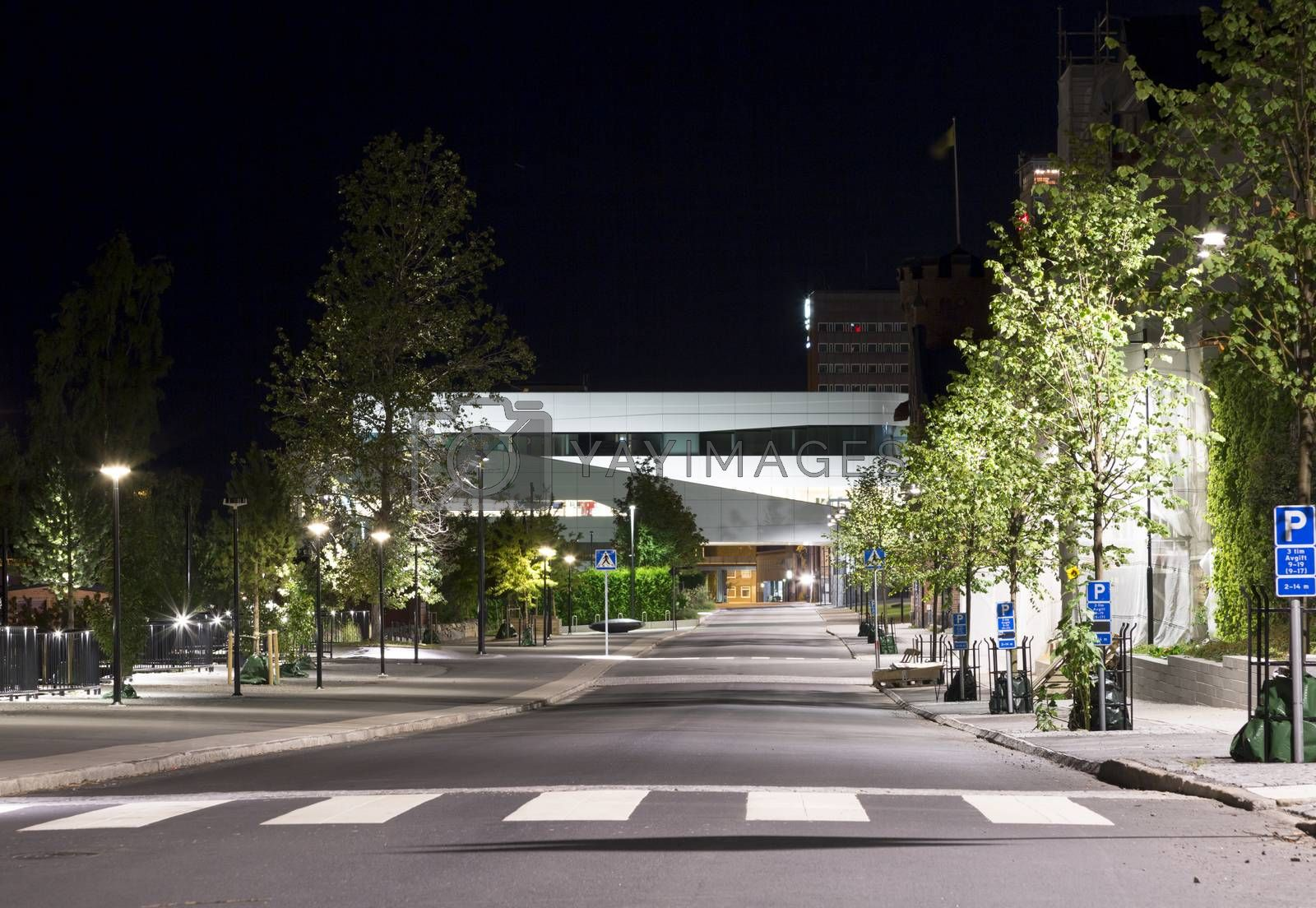 Downtown Umeå, Sweden at Night with the modern Väven building in the back.