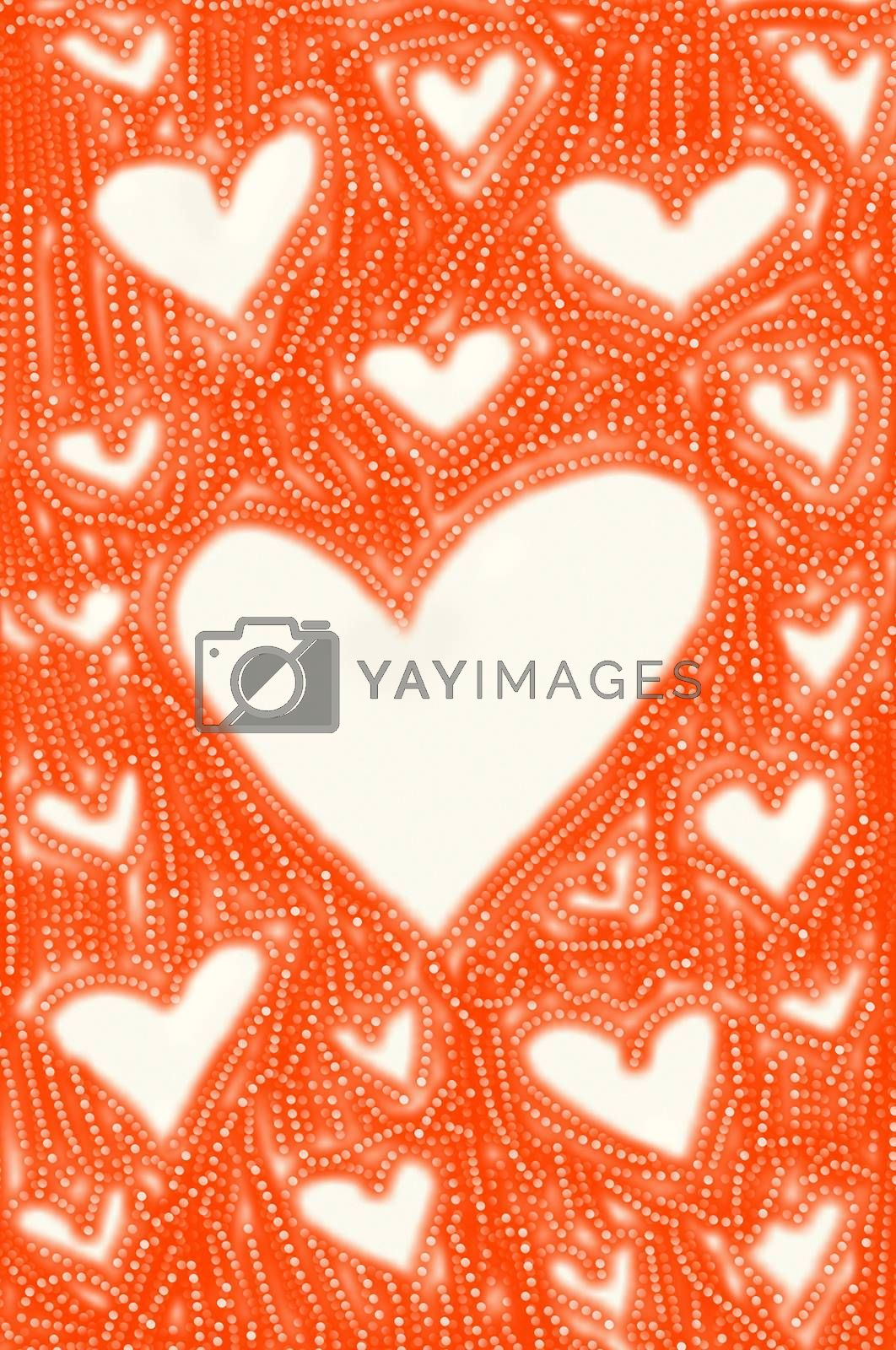 Red abstract background with hearts