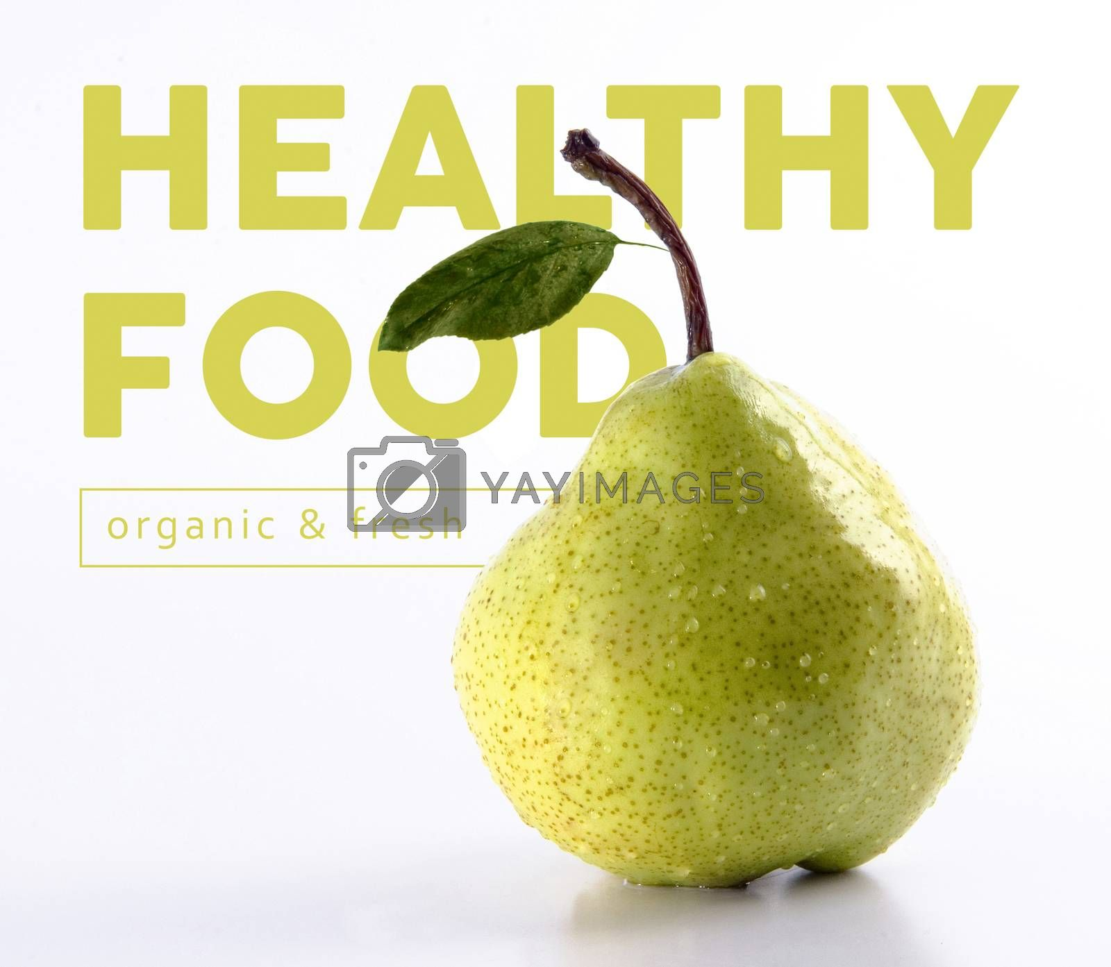 Healthy food fresh and organic concept with green pear fruit isolated background ideal for poster or cover design.