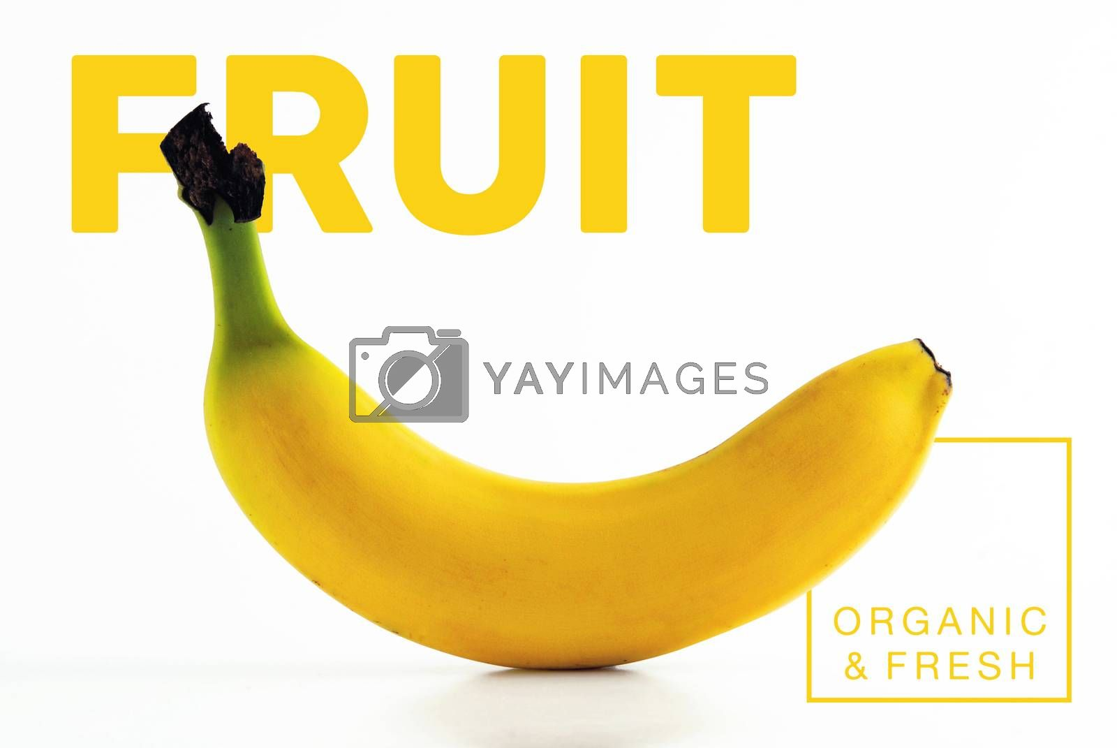 Fresh and organic banana fruit isolated background ideal for healthy food concept poster or cover design.