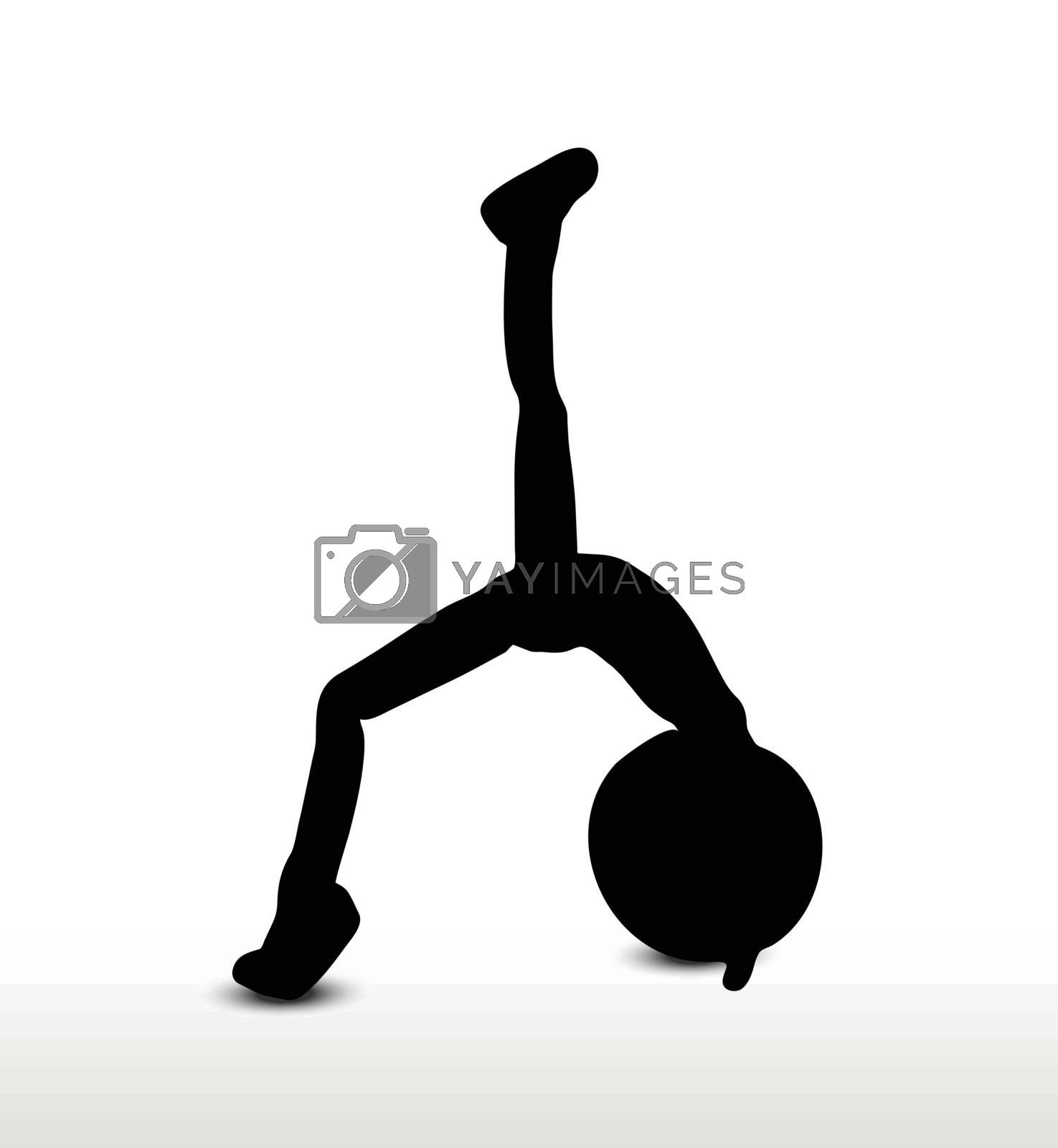 3d man silhouette, isolated on white background, yoga