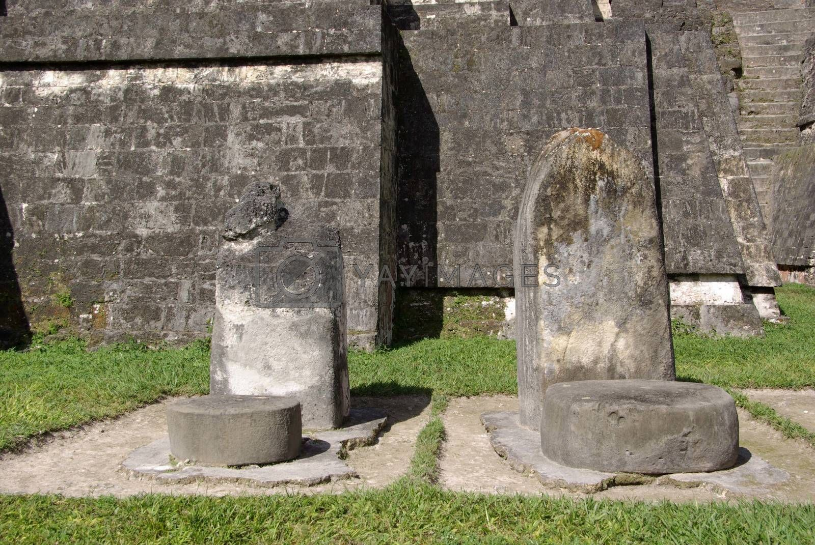 Mayan steles in the Mayan ruins of Tikal in Guatemala, Central America