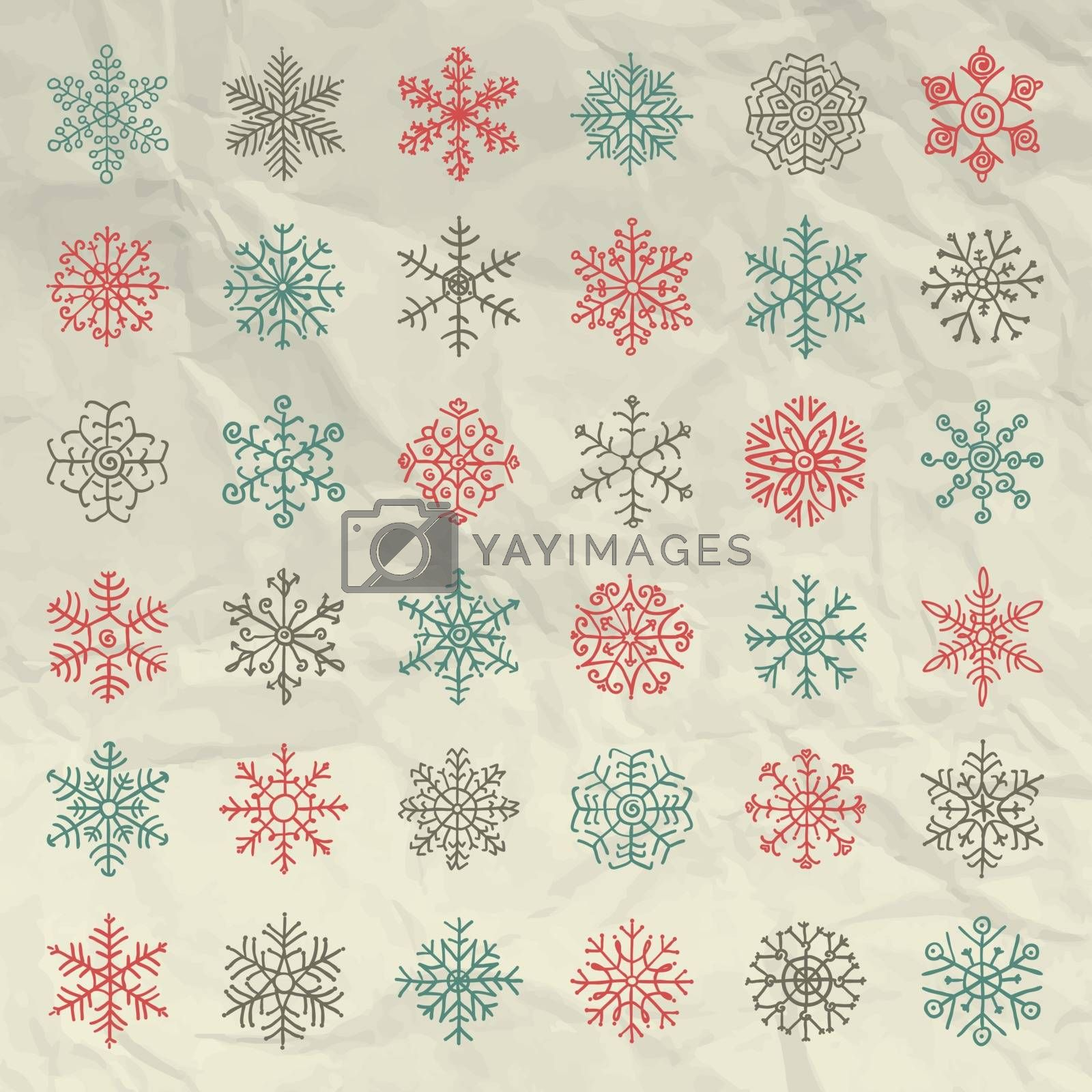 Hand Sketched Winter Snowflakes Doodles on Sheet Of Crumpled Paper Texture. Vector Illustration. Pattern Brushes. Christmas Snow flake Symbols