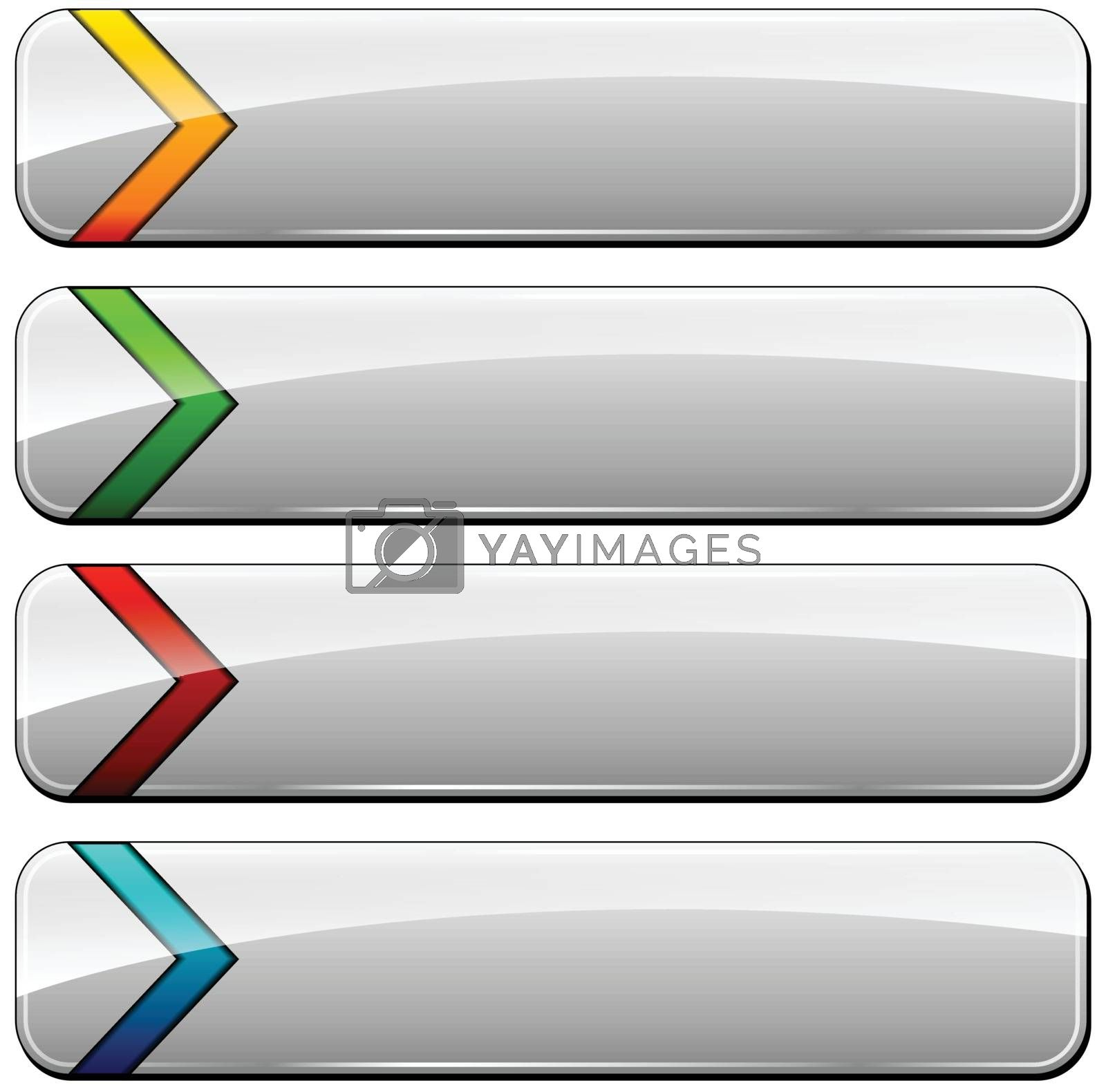 illustration of four blank web buttons set