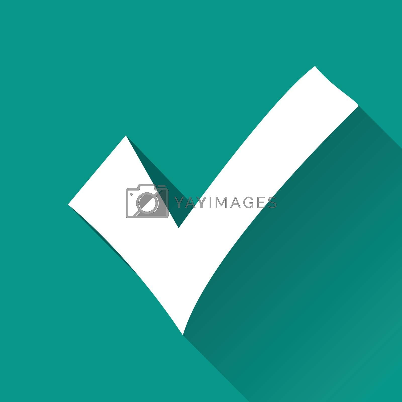 illustration of checkmark flat design icon isolated