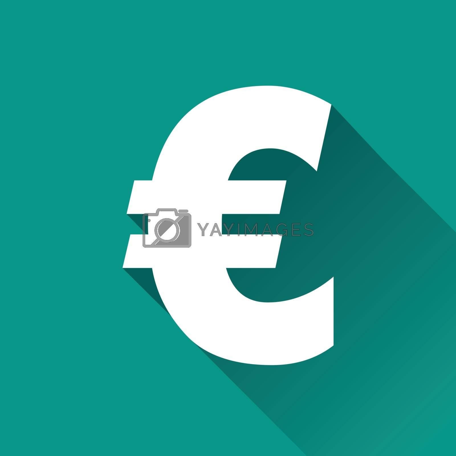 illustration of euro flat design icon isolated