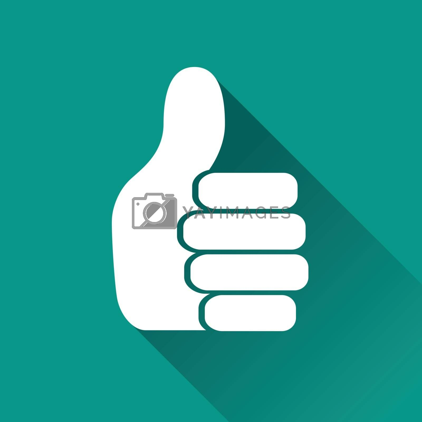 illustration of thumb flat design icon isolated