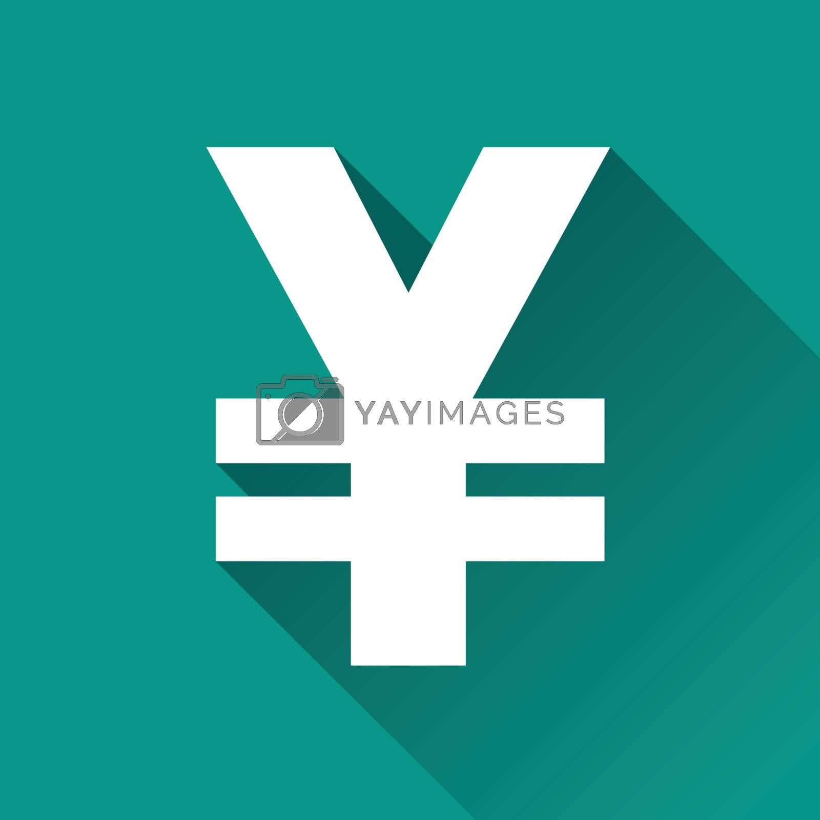 illustration of yen flat design icon isolated